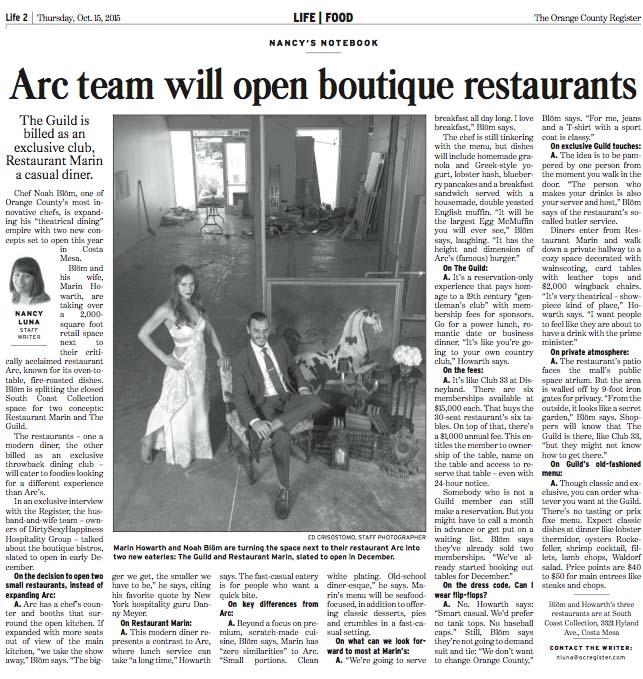 Arc Team Will Open Boutique Restaurants