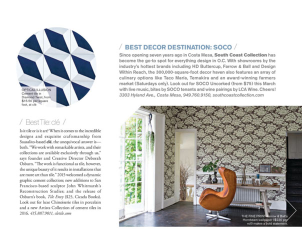 SOCO Awarded Best Design Destination by Interiors CA !