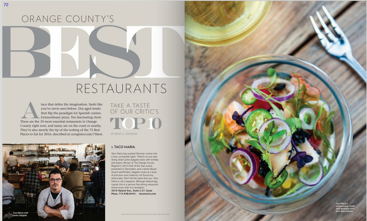 Coast Taco Maria And Arc Are Top 10 Best Restaurants In Oc