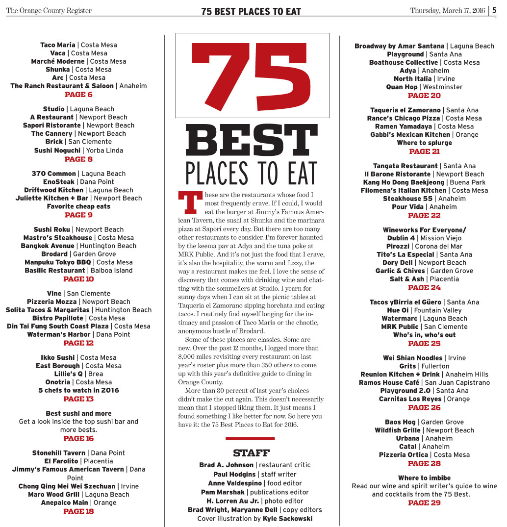 Oc Register Three Of Soco Restaurants On The List 75 Best Places To Eat