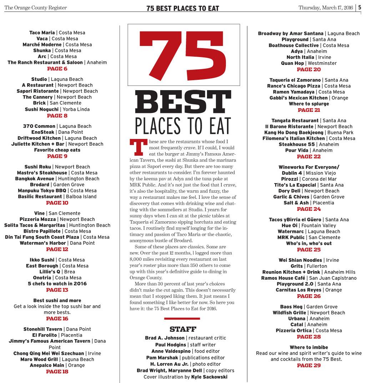 OC Register: Three of SOCO Restaurants on the List of 75